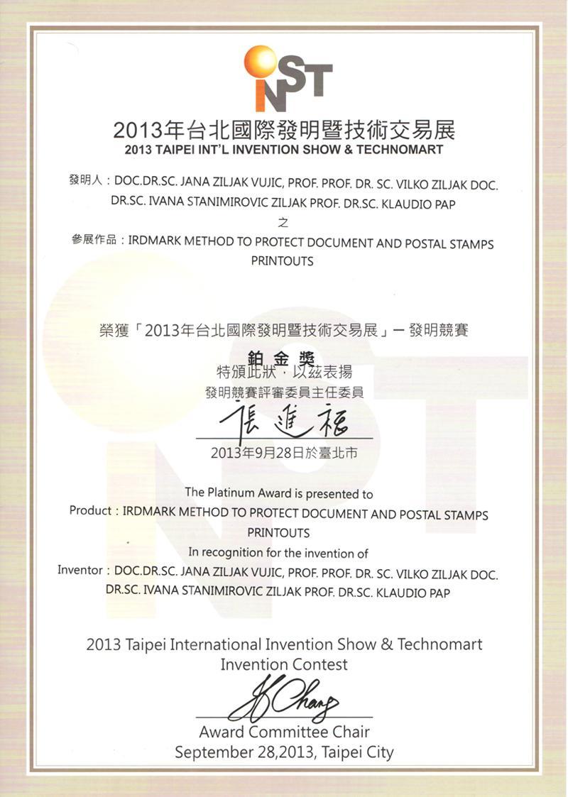Platinasta nagrada, INST 2013.